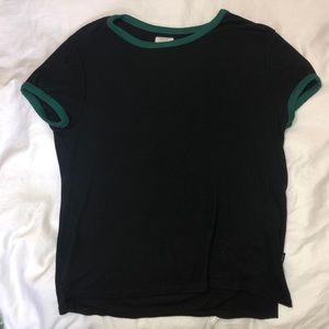 Black ribbed shirt with teal details from RVCA